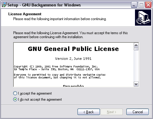 image of installation screen License agreement.